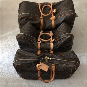Louis Vuitton luggage 3 different sizes used once